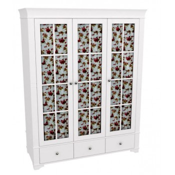 Шкаф 3-х дверный со стеклянными дверями