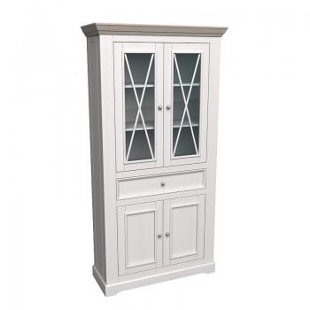 Шкаф для посуды Форест широкий 4 двери 1 ящик белый воск/антрацит
