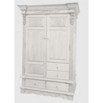 Шкаф 2-х дверный Викинг GL белый брашированный