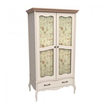 Шкаф 2х дверный ЛеБо со стеклянными дверями бежевый воск/антик