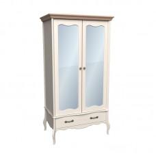 Шкаф 2х дверный ЛеБо с зеркальными дверями бежевый воск/антик