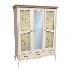 Шкаф 3х дверный с двумя стеклянными дверями и зеркалом ЛеБо бежевый воск/антик