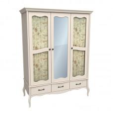 Шкаф 3х дверный с двумя стеклянными дверями и зеркалом ЛеБо бежевый воск