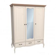 Шкаф 3х дверный с зеркалом ЛеБо бежевый воск/антик