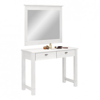 Стол туалетный с зеркалом Рауна белый воск